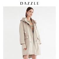 DAZZLE地素 19春装新款军装式针织开叉长款外套风衣女2G1F6051L