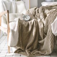君别家纺小米馍馍粉色法兰绒毯子 北欧简约割绒工艺毛毯 时尚盖毯午睡毯