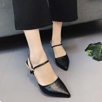 时尚百搭尖头两穿细跟浅口高跟鞋韩版包头凉鞋女鞋子
