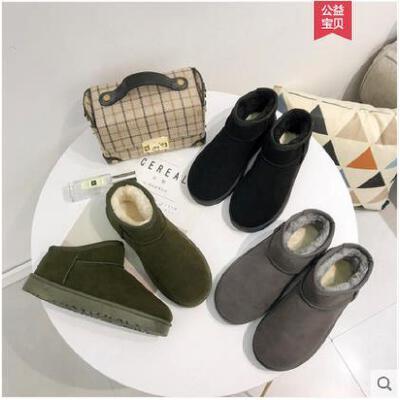 新款冬季保暖雪地靴短靴女靴防滑休闲平底青年女鞋加绒短筒潮