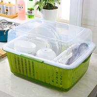 防尘防虫带盖有筷子笼塑料洗碗碟搁置架厨房沥水盒控水筐滴水篮子Q