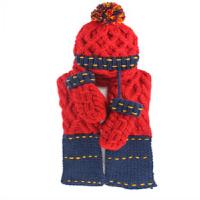 生日礼物冬季女士毛线帽加厚拼色帽子围巾手套一体套装三件套