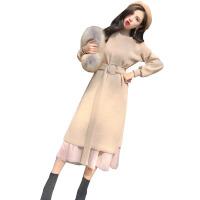 针织连衣裙初秋冬季2018新款女中长款内搭两件套过膝宽松毛衣长裙 均码