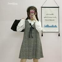 春装新款女装韩版学院风百搭显瘦复古格子无袖V领背带连衣裙子潮 均码