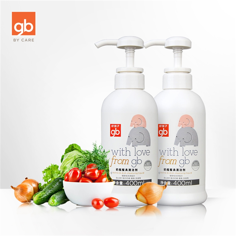 gb好孩子婴儿奶瓶清洁剂餐具清洗剂天然植物宝宝洗洁精液400ml*2植物洁净成分 温和去污 一瓶多用