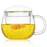 玻璃泡花茶杯透明过滤杯子三件式办公圆趣水杯玻璃杯茶杯办公水杯花茶杯带把盖过滤创意男女泡茶家