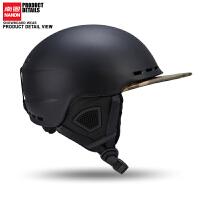 滑雪头盔带帽雪盔保暖滑雪装备男女檐款护具单双板