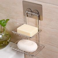 双庆不锈钢双层肥皂盒吸盘式沥水卫生间厨房壁挂皂托肥皂架香皂盒 不锈钢