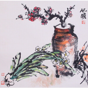 画家  朱屺瞻《清供》