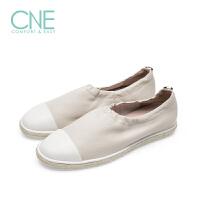 CNE春夏新款休闲圆头拼接低跟平跟女鞋渔夫鞋 9M04501