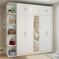 家具大衣柜简约现代经济型木质柜子组合卧室带镜子组装四五门衣橱 +角柜+顶柜