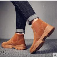 皮面雪地靴男士棉鞋加绒加厚保暖棉靴高帮男鞋马丁靴男靴防水