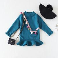 1-2-3岁女宝宝加绒毛衣裙 幼童秋装韩版打底衫女婴儿精品针织衫