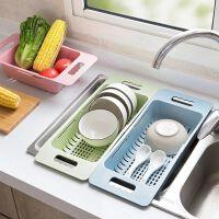 可伸缩水槽沥水架塑料放碗筷架子家用厨房碗碟架蔬菜收纳架厨房洗菜篮水池洗菜盆漏水篮可伸缩