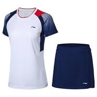 李宁新款运动短袖套装速干面料男女款队服羽毛球服运动套装半袖上衣短裤