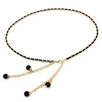 腰链 女士PU珍珠装饰金属挂钩腰链2019年新款韩版女式时尚女装服装配饰细腰带