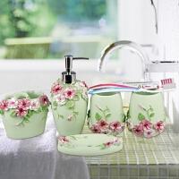 欧式卫浴五件套洗漱套装简约创意婚庆卫生间牙具浴室用品树脂套件 绿色 浪漫庄园浅绿