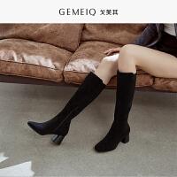 戈美其新款秋冬季长靴子女粗跟绒面高筒靴女百搭高跟长筒靴子
