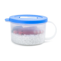 特百惠 460ml微波水晶汤碗 带把手保鲜圆碗 便当饭盒 微波盒