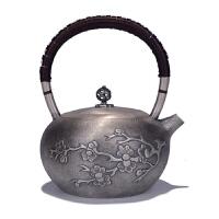 纯银功夫茶具一剪梅日本银壶纯银999烧水壶银壶纯银纯银煮水壶纯银茶壶烧水壶茶壶茶具