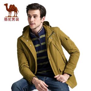 骆驼男装 秋季新款时尚可脱卸帽商务休闲宽松中长款风衣外套男