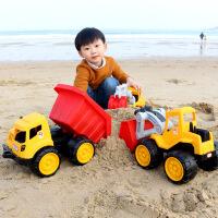 儿童沙滩玩具车大号工程车耐摔推土机挖掘机铲车翻斗卡车模型男孩