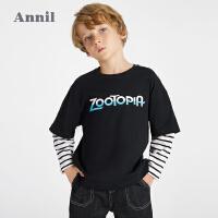 【抢购价:59.9】安奈儿童装男童T恤拼接长袖2021新款洋气迪士尼疯狂动物城IP上衣