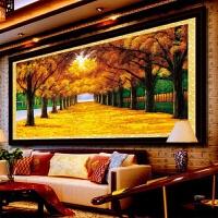 黄金满地十字绣新款线绣客厅 山水画十字绣大幅风景满绣2米