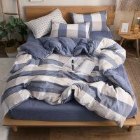 北欧风水洗棉四件套床上用品纯棉被套被子床单三件套床笠