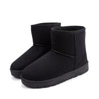 2018秋冬季新款短靴平底马丁靴雪地靴女保暖加绒加厚棉靴学生短筒 黑色 A-5