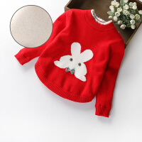 可爱女童毛衣季新款加绒加厚圆领套头针织中小童宝宝羊绒打底衫