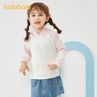 【超品返�� 2件5折:70】巴拉巴拉童�b�和��l衣女童上衣秋�b�����n版撞色休�e小童�n版�B帽