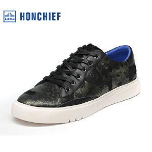 HONCHIEF 红蜻蜓旗下 秋季新款男士真皮板鞋马毛系带潮流休闲鞋子