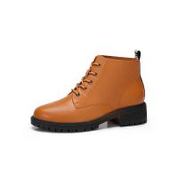 camel骆驼女鞋冬季新款时尚英伦马丁靴真皮休闲靴子方跟系带女短靴