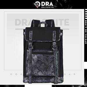 【支持礼品卡支付】DRACONITE潮牌复古蛇纹背包男女欧美牛津布磁扣pu皮双肩包11086A