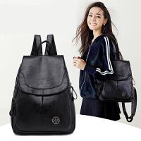 双肩包女软皮韩版大容量百搭潮时尚学生休闲旅行背包包