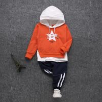 宝宝春装套装2018新款1-2-3-4岁男童春秋季两件套婴幼儿童卫衣潮5 桔红色 五角星两件套