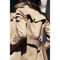 风衣女中长款 韩版B2018春秋季新款 双排扣修身英伦风家百搭外套
