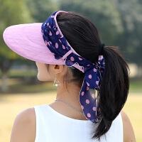 大沿遮阳帽女夏天韩版休闲户外出游防晒帽空顶太阳帽可折叠沙滩帽凉帽