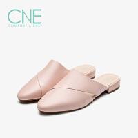 CNE2019夏季新款拖鞋女外穿纯色粗跟低跟镂空穆勒鞋拖鞋AM15403