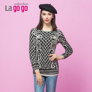 lagogo拉谷谷冬季修身双面提花百搭打底针织衫