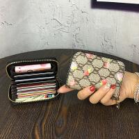 新款新款欧美拉链卡包女式男士风琴卡夹*套小零钱包驾驶证套卡潮 草莓 现货
