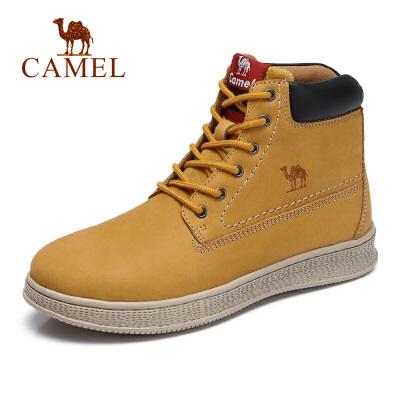camel骆驼男鞋 秋季新款时尚户外工装鞋子牛皮磨砂休闲马丁靴男