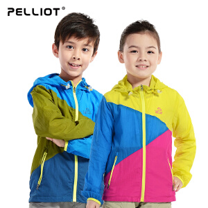 【五一出游特惠】法国PELLIOT/伯希和 儿童皮肤衣 户外防晒超轻薄儿童拼色皮肤风衣