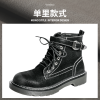 2018韩版秋冬季新款马丁靴女英伦风加绒平底学生拉链复古短靴子女 黑色 单里