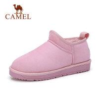 骆驼女靴 冬季 时尚潮流舒适雪地靴女平底加绒保暖休闲套筒短靴女