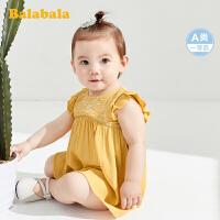 巴拉巴拉女童连衣裙宝宝公主裙儿童裙子洋气文艺风荷叶袖轻薄款裙