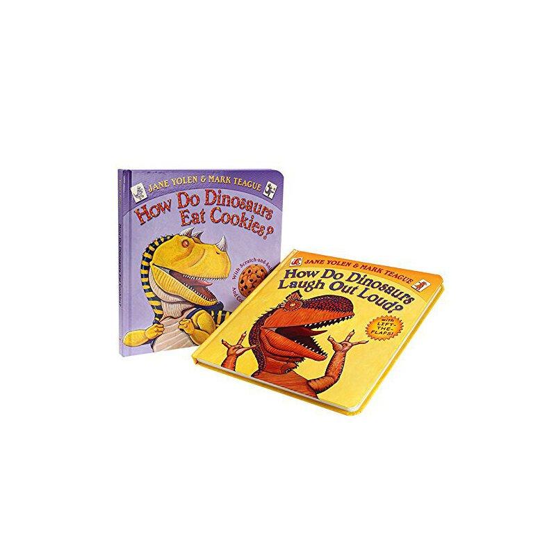 送音频 家有恐龙 学乐低幼系列纸板书2册How Do Dinosaurs Eat Cookies? 韵文书+翻翻书 经典的家有恐龙系列 恐龙绘本 送音频