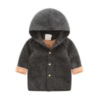 儿童男童装呢子毛呢大衣外套2017新款加绒加厚中长款韩版潮衣 灰色