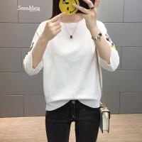 中袖T恤女圆领绣花打底衫薄款针织春季上衣女装2018新款潮体恤衫